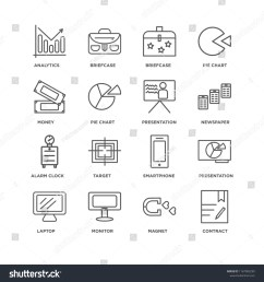 set of 16 simple line icons such as contract magnet monitor laptop presentation analytics money alarm clock editable stroke icon pack pixel perfect  [ 1500 x 1600 Pixel ]