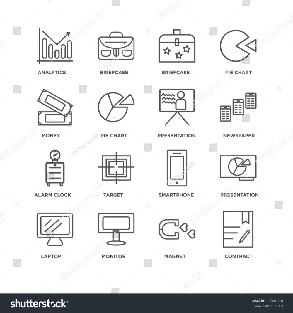 medium resolution of set of 16 simple line icons such as contract magnet monitor laptop presentation analytics money alarm clock editable stroke icon pack pixel perfect