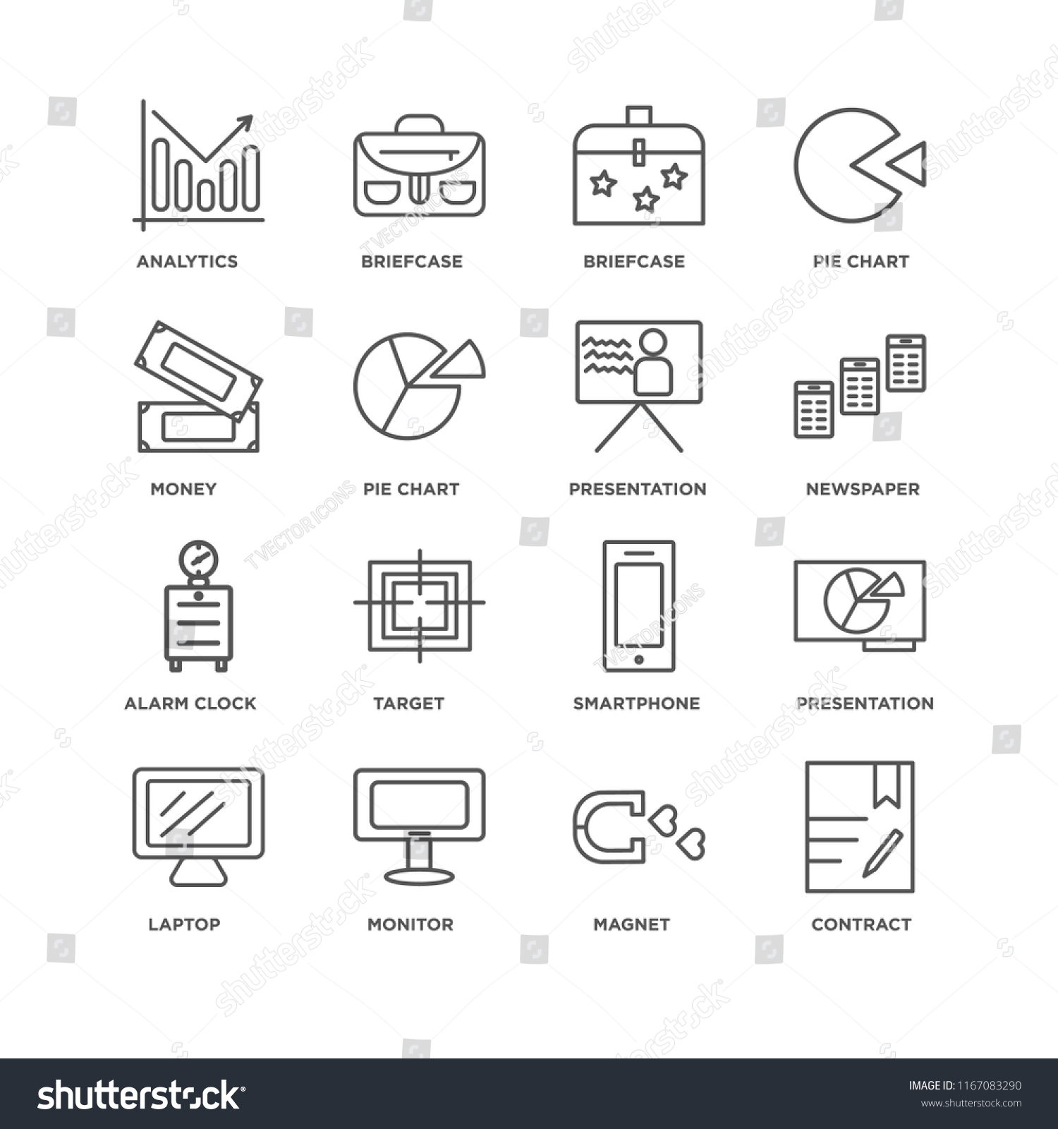 hight resolution of set of 16 simple line icons such as contract magnet monitor laptop presentation analytics money alarm clock editable stroke icon pack pixel perfect