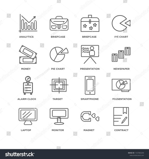 small resolution of set of 16 simple line icons such as contract magnet monitor laptop presentation analytics money alarm clock editable stroke icon pack pixel perfect
