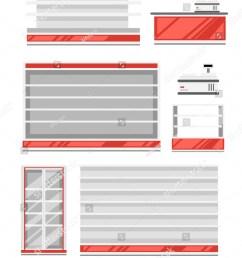 set of supermarket shelves red and white color shelf fridge and cash register [ 1250 x 1600 Pixel ]