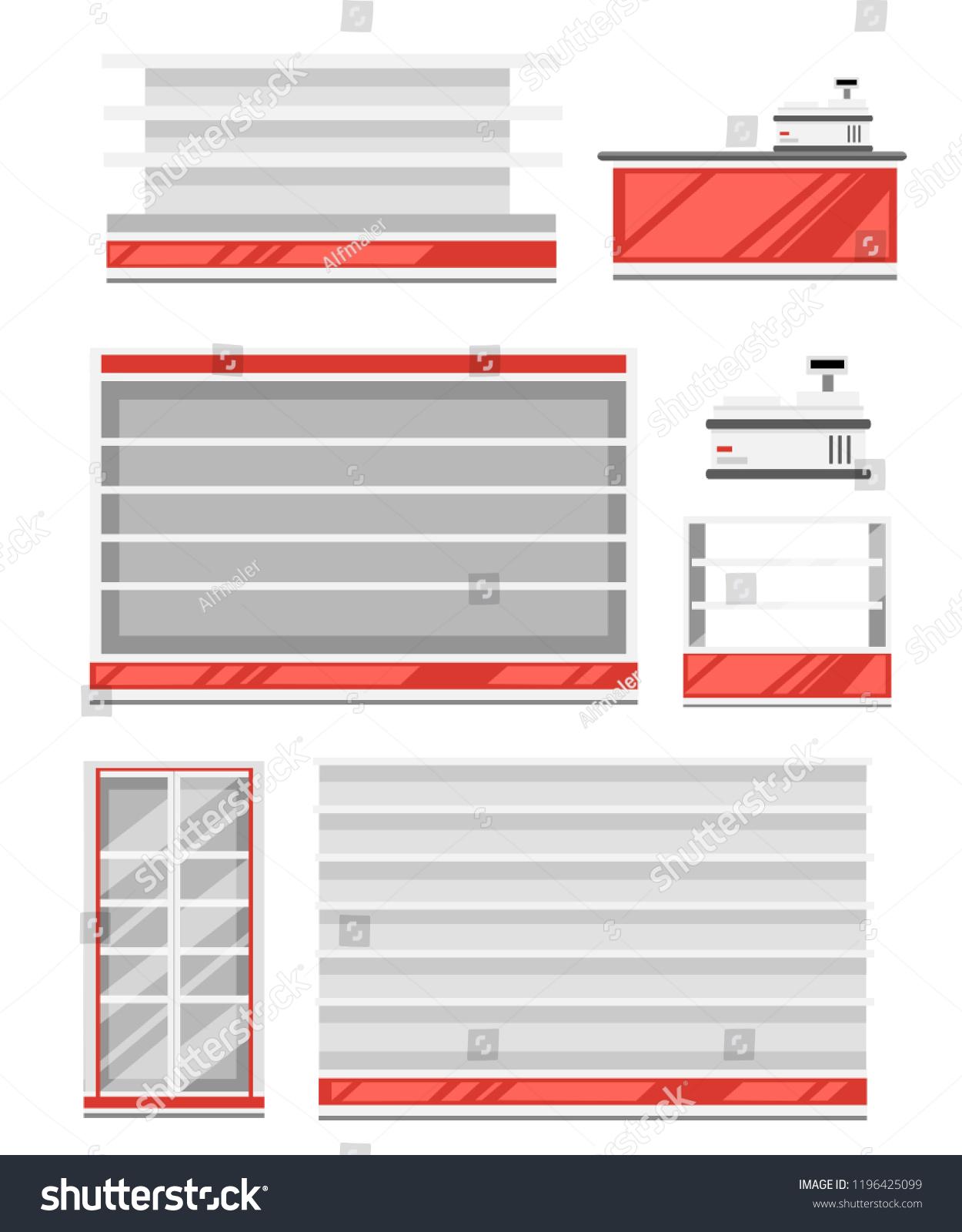 hight resolution of set of supermarket shelves red and white color shelf fridge and cash register