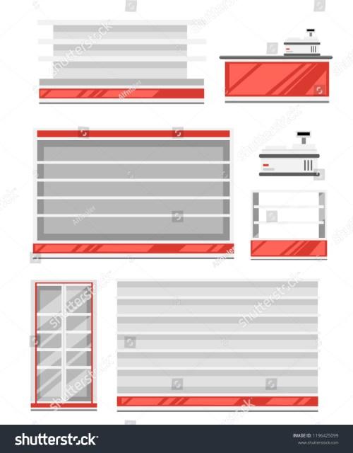 small resolution of set of supermarket shelves red and white color shelf fridge and cash register