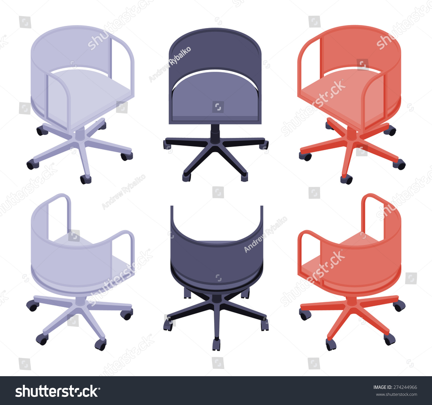 Spinning Chair Set Isometric Office Colored Spinning Chairs Stock Vector