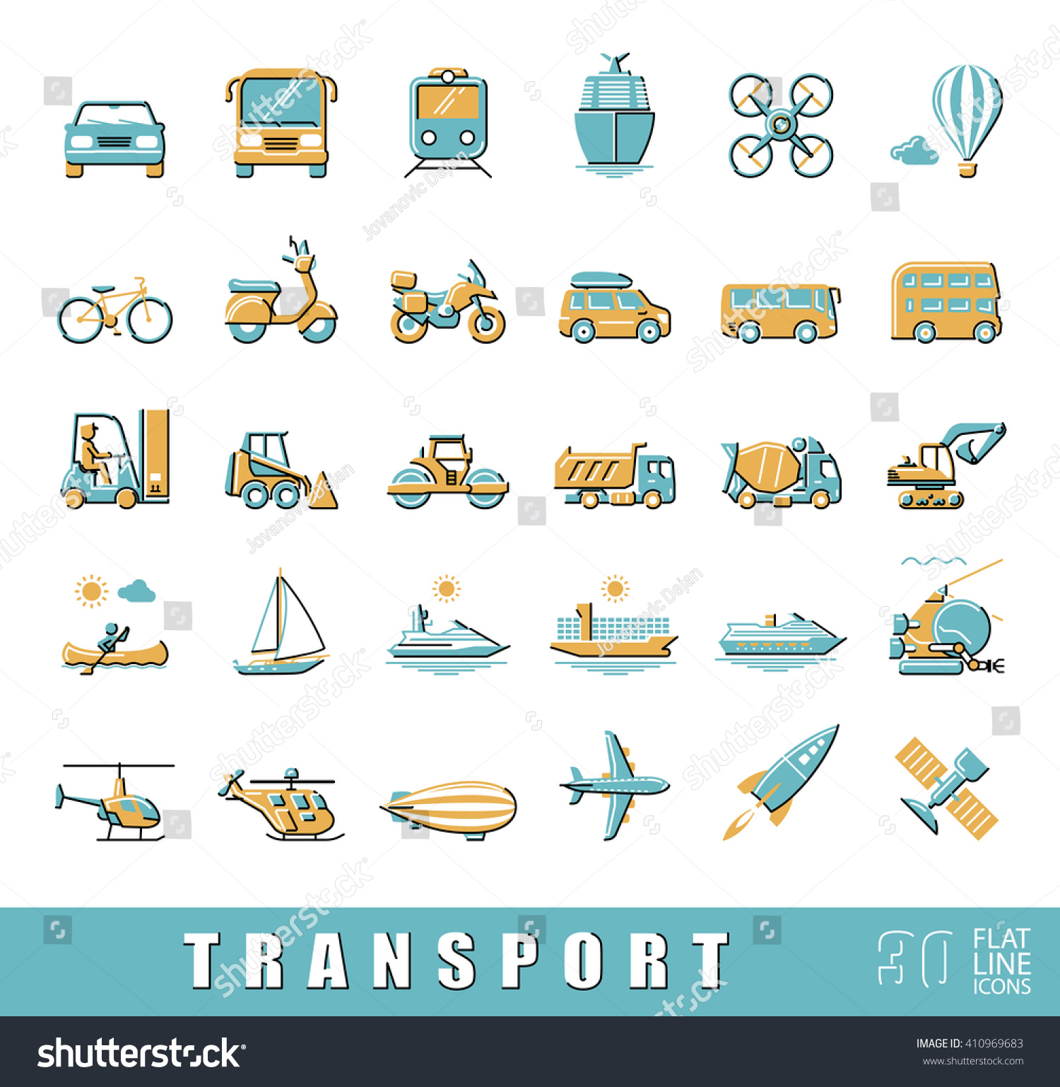 Set Transportation Icons Various Means Transportation