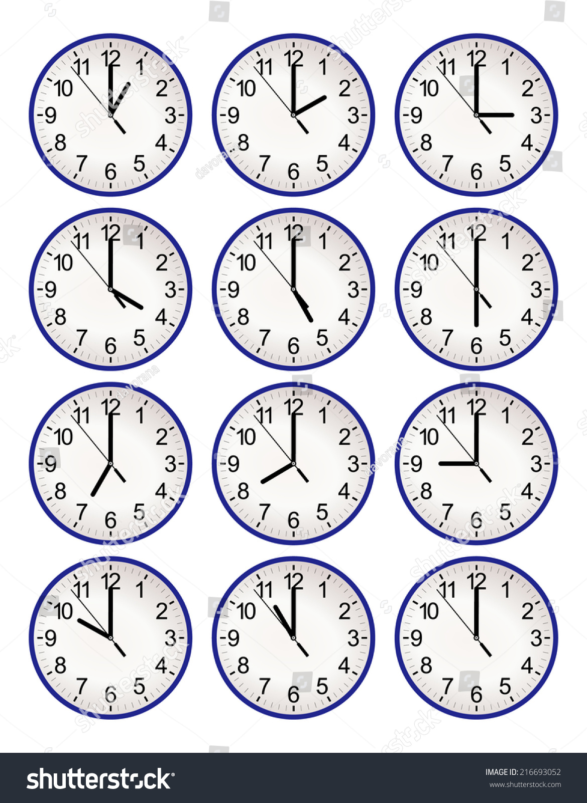 Set Twelve Wall Clock Every Hour Stock Vector