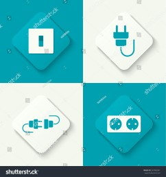 set of vector icons with wire plug and socket power switch  [ 1500 x 1600 Pixel ]