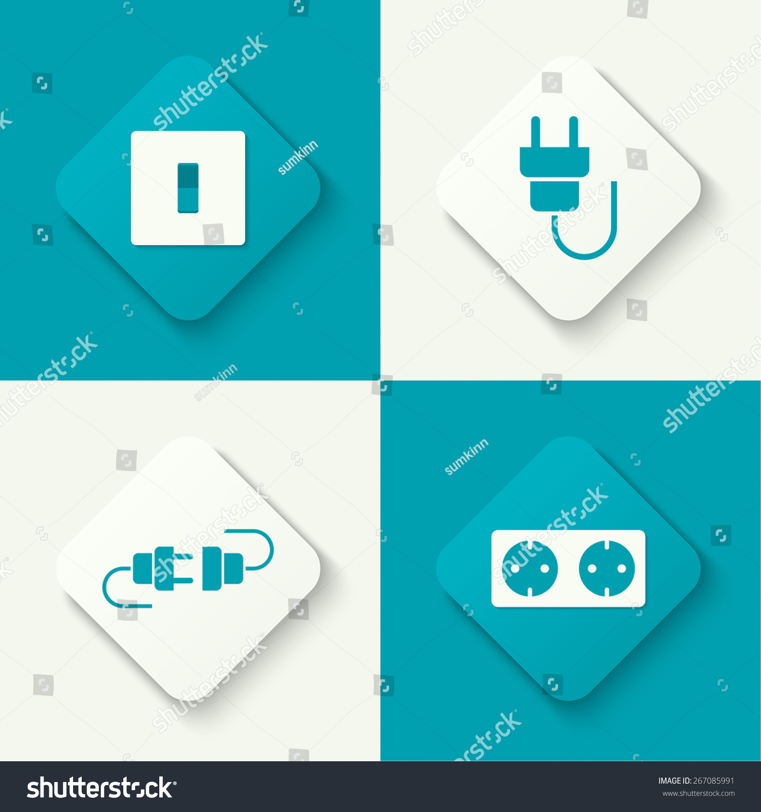 hight resolution of set of vector icons with wire plug and socket power switch