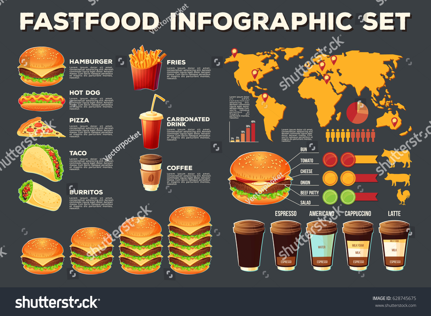 spatial diagram of fast food three prong massager set vector illustrations infographic 스톡 벡터