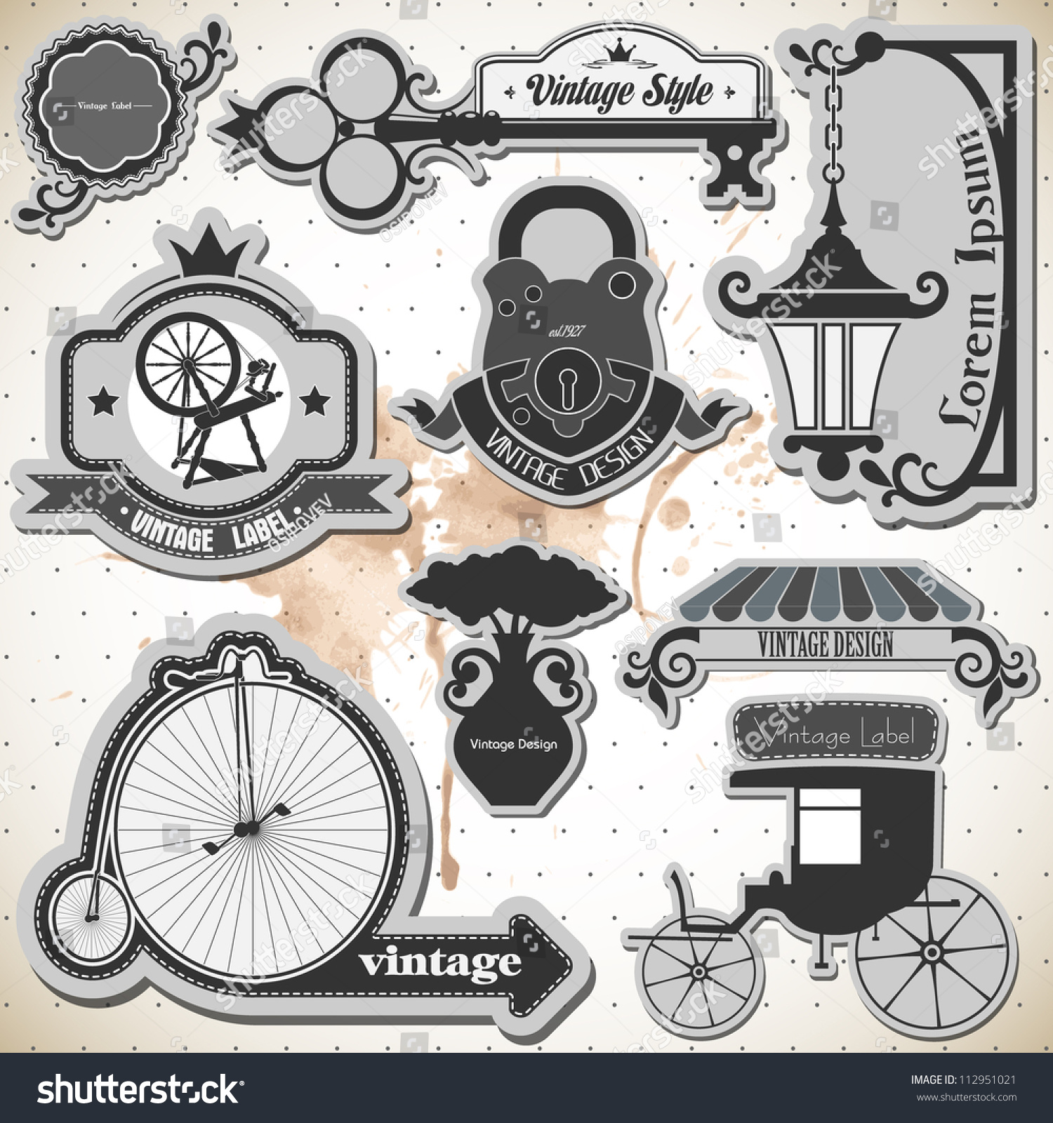 hight resolution of set of vintage labels and stamps 2