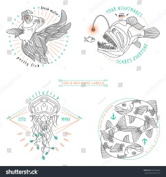 set of vintage thin line fish and sea food labels badges retro vector design [ 1500 x 1600 Pixel ]