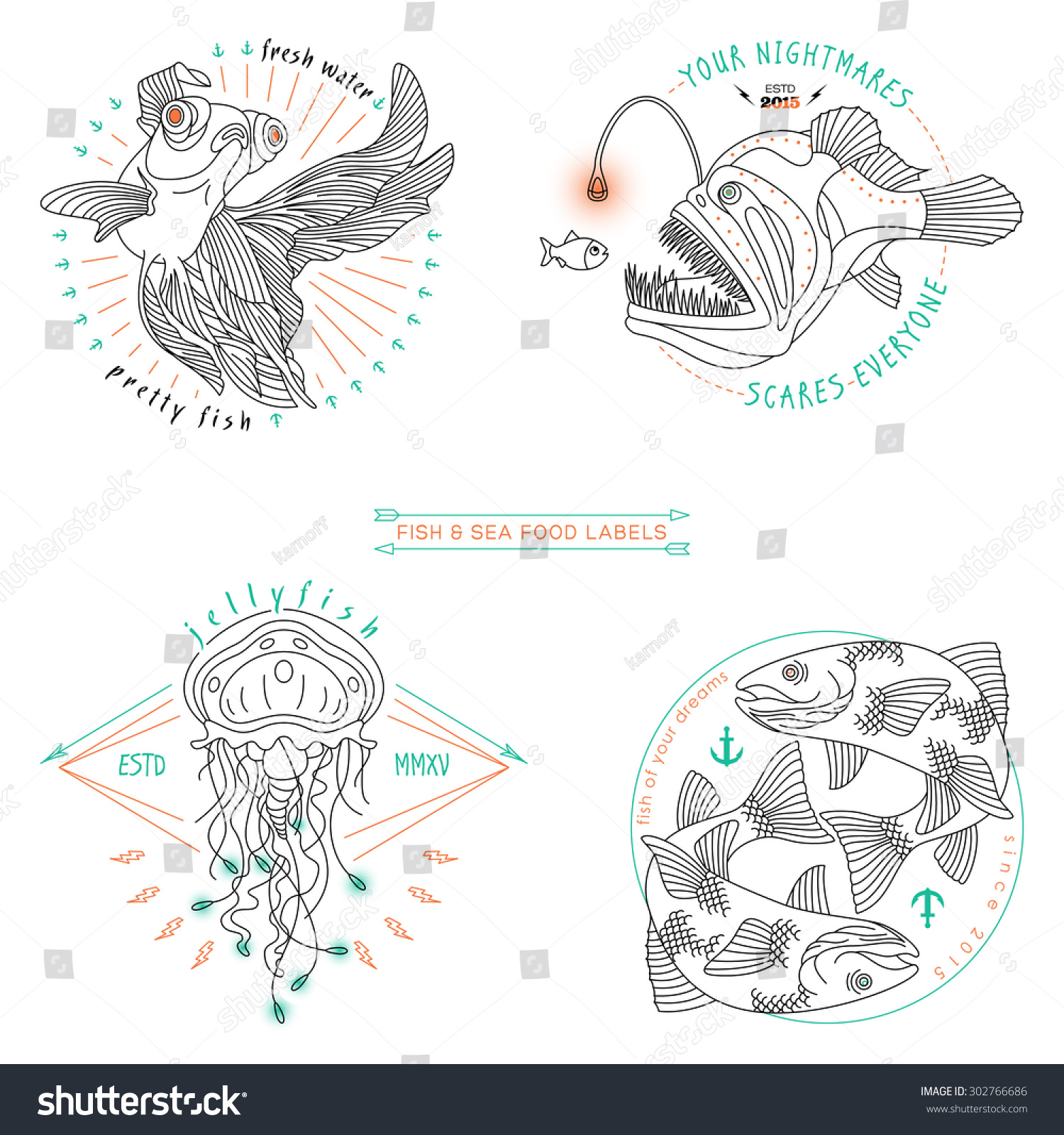 hight resolution of set of vintage thin line fish and sea food labels badges retro vector design