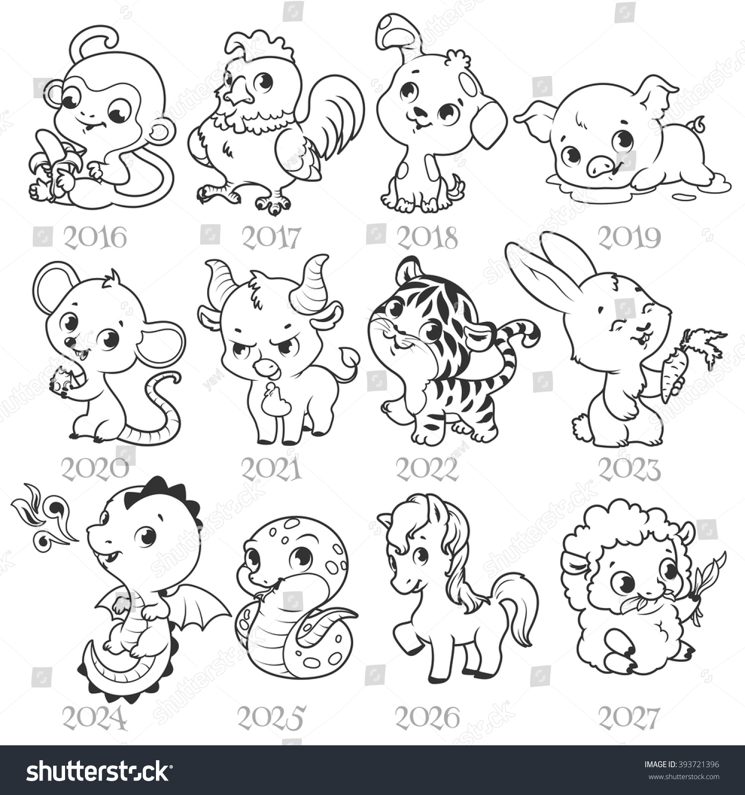 Set Zodiac Signs Cartoon Style Chinese Stock Vector