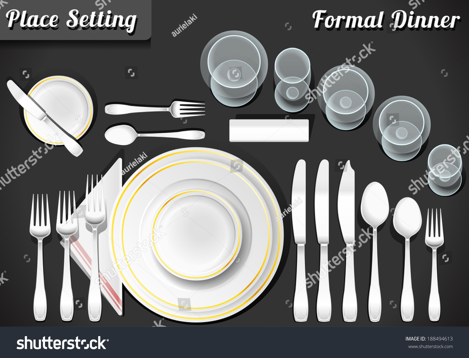 banquet table set up diagram 2005 dodge durango factory radio wiring setting place formal placemat vectores en