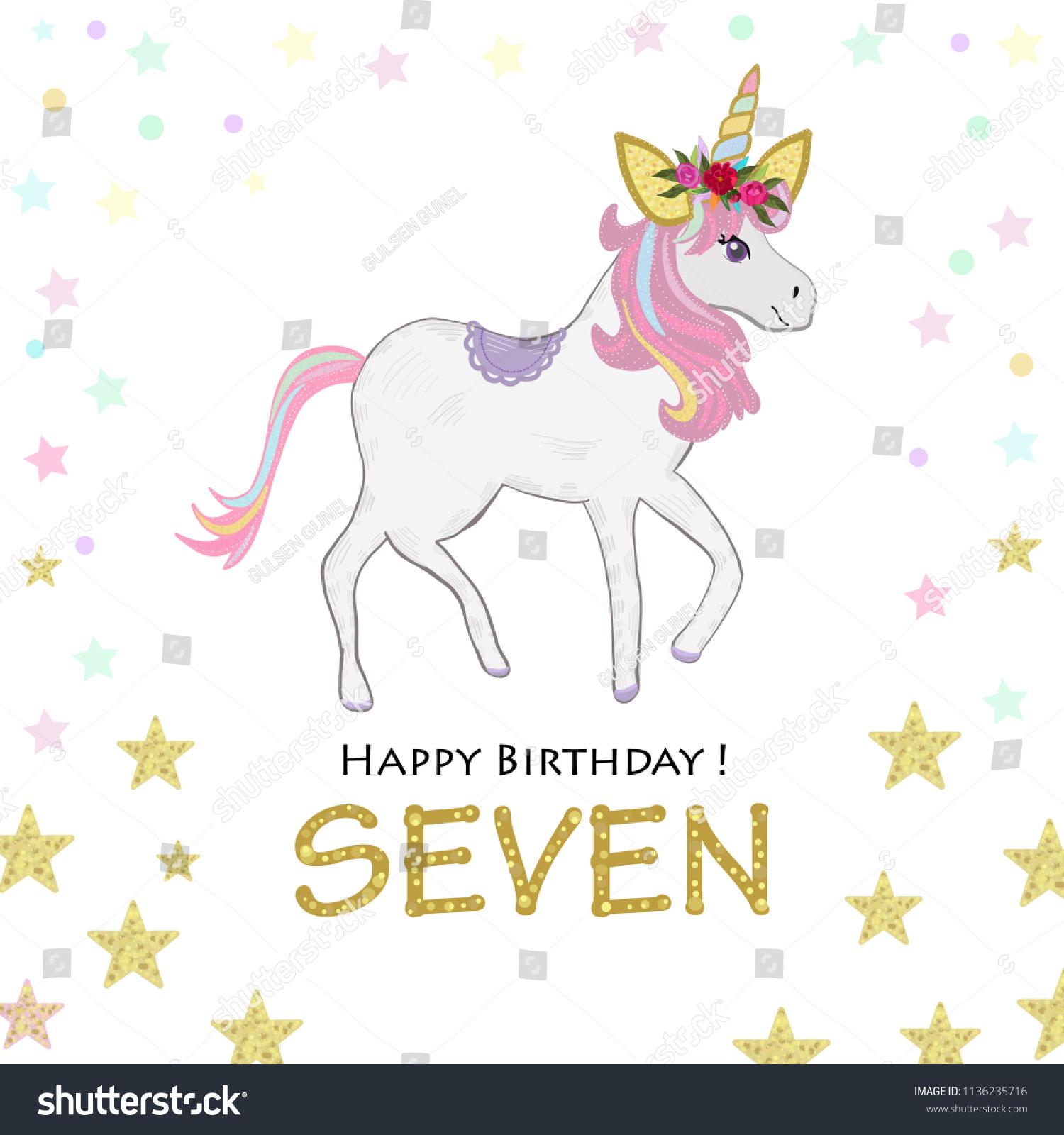 https www shutterstock com image vector seventh birthday seven unicorn invitation party 1136235716