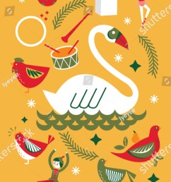 seventh day of christmas from the twelve days of christmas greetings template vector illustration [ 725 x 1600 Pixel ]