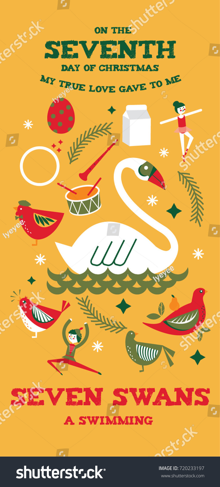 medium resolution of seventh day of christmas from the twelve days of christmas greetings template vector illustration