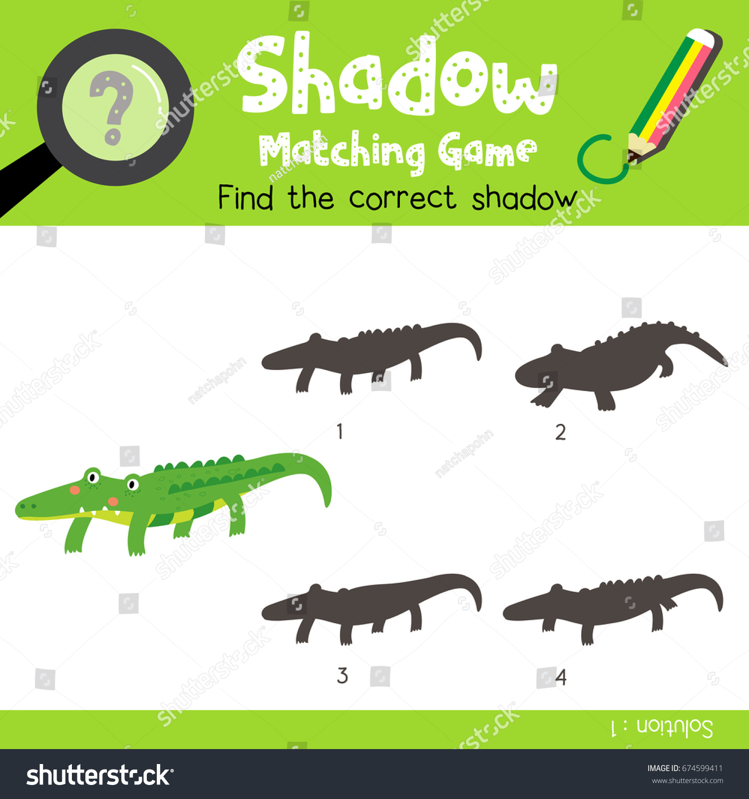 Shadow Matching Game Alligator Animals Preschool Stock