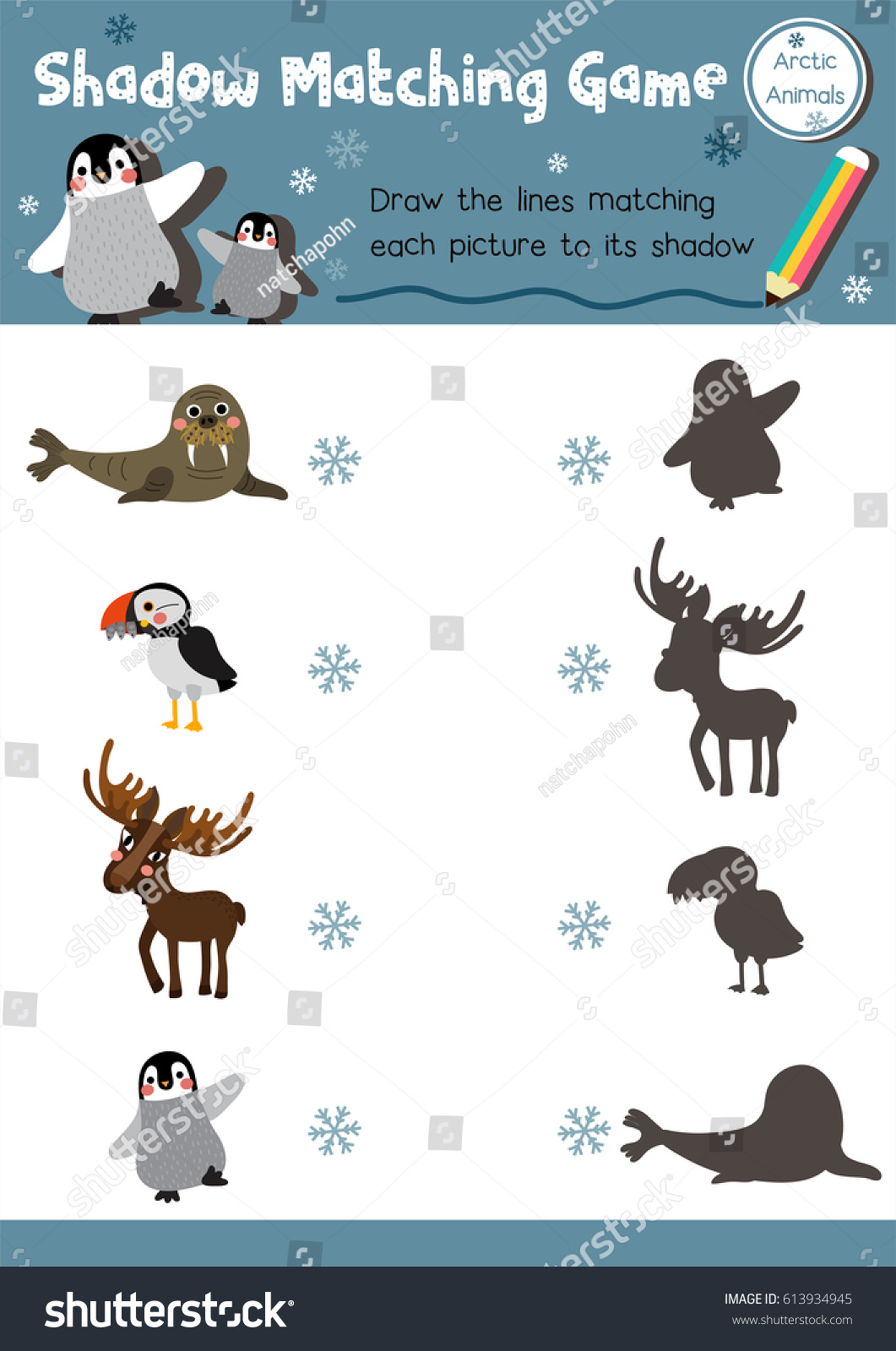 Shadow Matching Game Arctic Animals Preschool Stock Vector