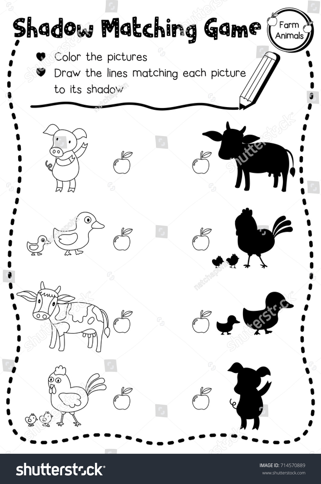 Preschool Farm Animals Worksheet For Kindergarten