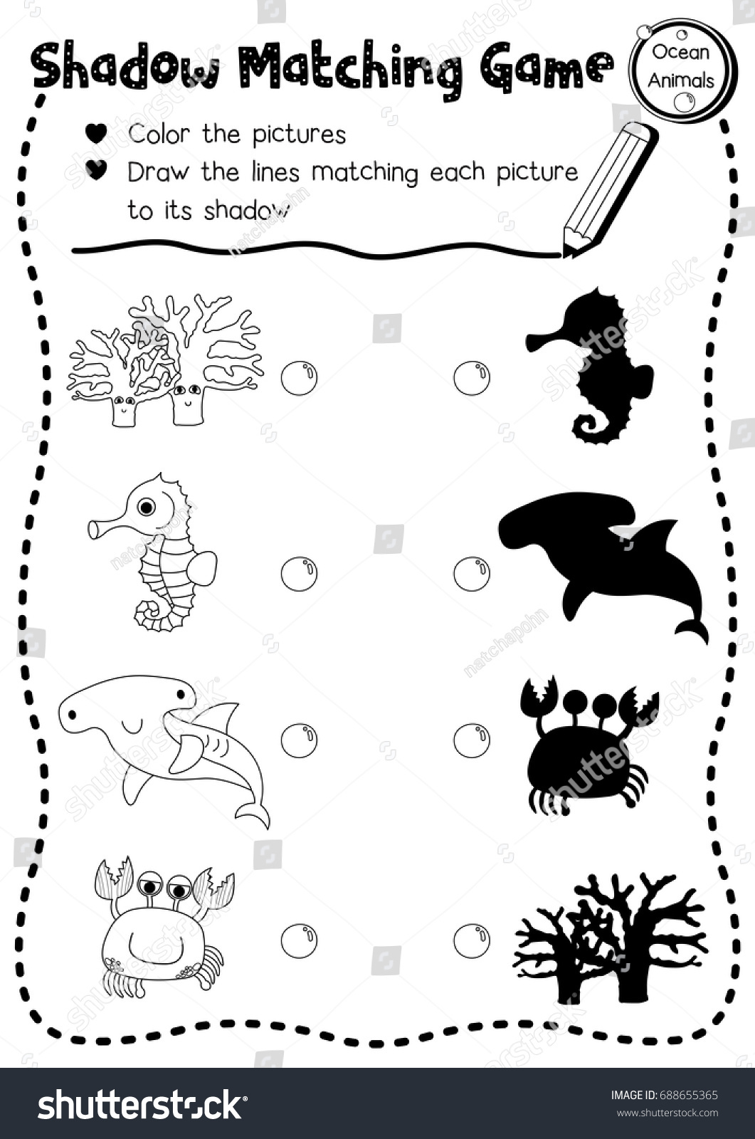Sea Animals Worksheet For Kindergarten
