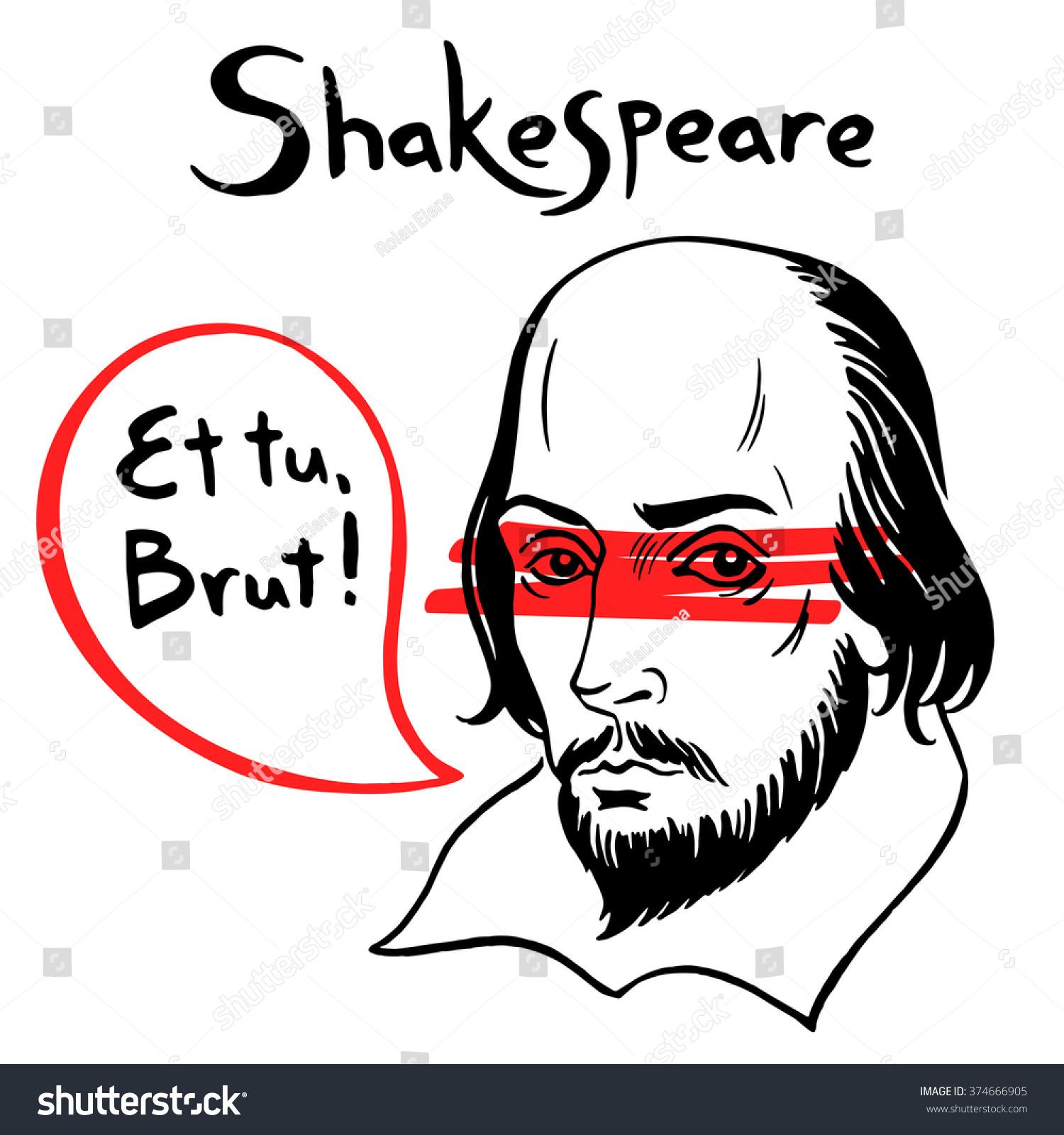 Shakespeare Vector Portrait Speech Bubble Famous Stock Vector