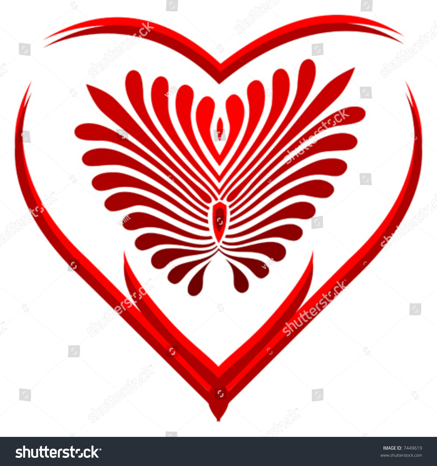 Shape Of Heart With Pattern Inside Stock Vector