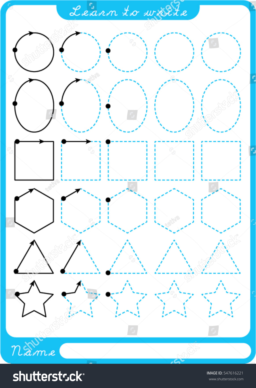 Shapes Preschool Worksheet Practicing Fine Motor Stock
