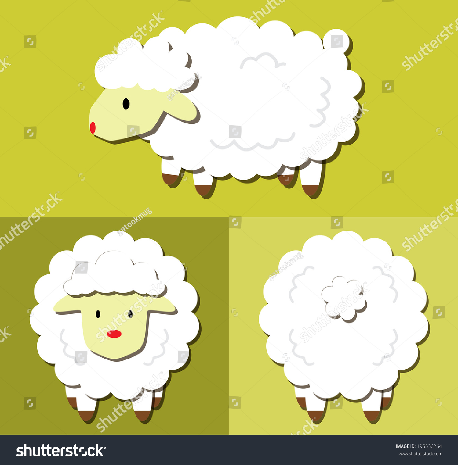 Sheep Cartoon Pattern With Side View Front View Amp Back