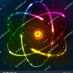 Neon Atom Diagram Segmented Worm Shining Model Vector Illustration Stock