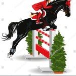 Vector De Stock Libre De Regalias Sobre Show Jumping Jockey On Beautiful Black85274053