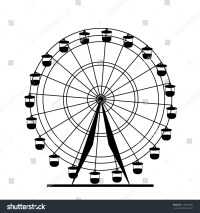 Silhouette Atraktsion Colorful Ferris Wheel Vector Stock ...