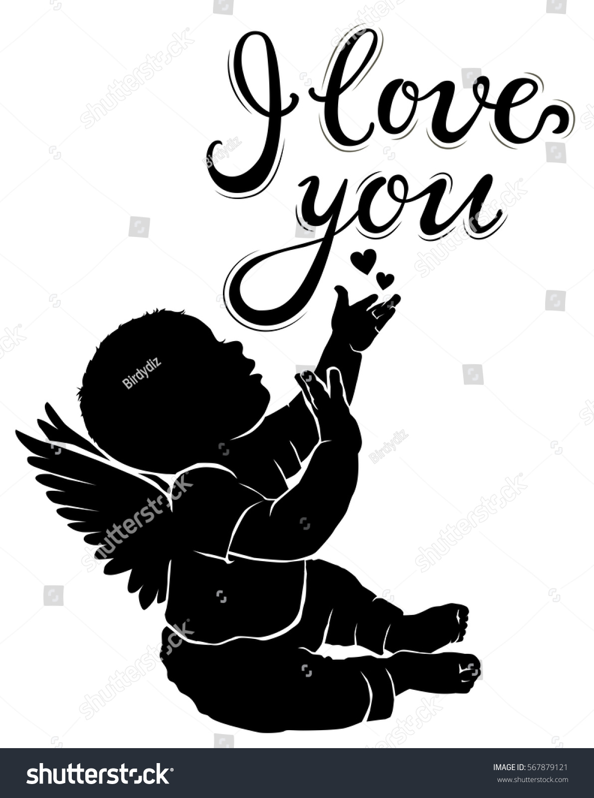 Baby Angel Svg : angel, Silhouette, Angel, Stock, Vector, (Royalty, Free), 567879121