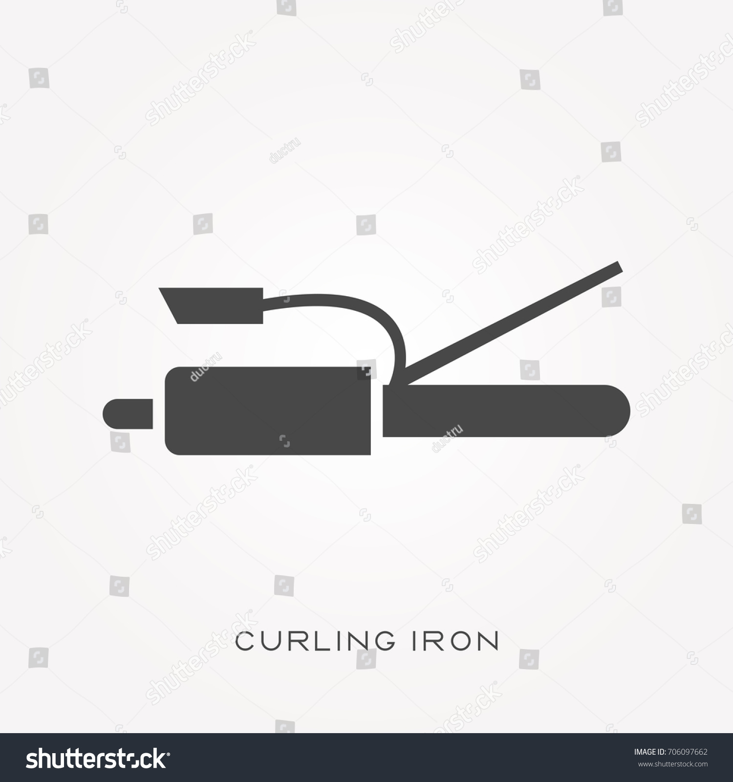 hight resolution of silhouette icon curling iron