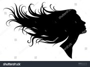 silhouette girl profile long hair