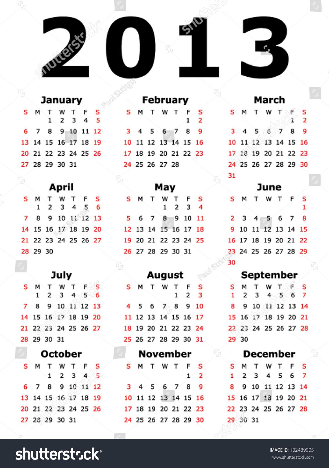 Simple Calendar Eps 10 Stock Vector
