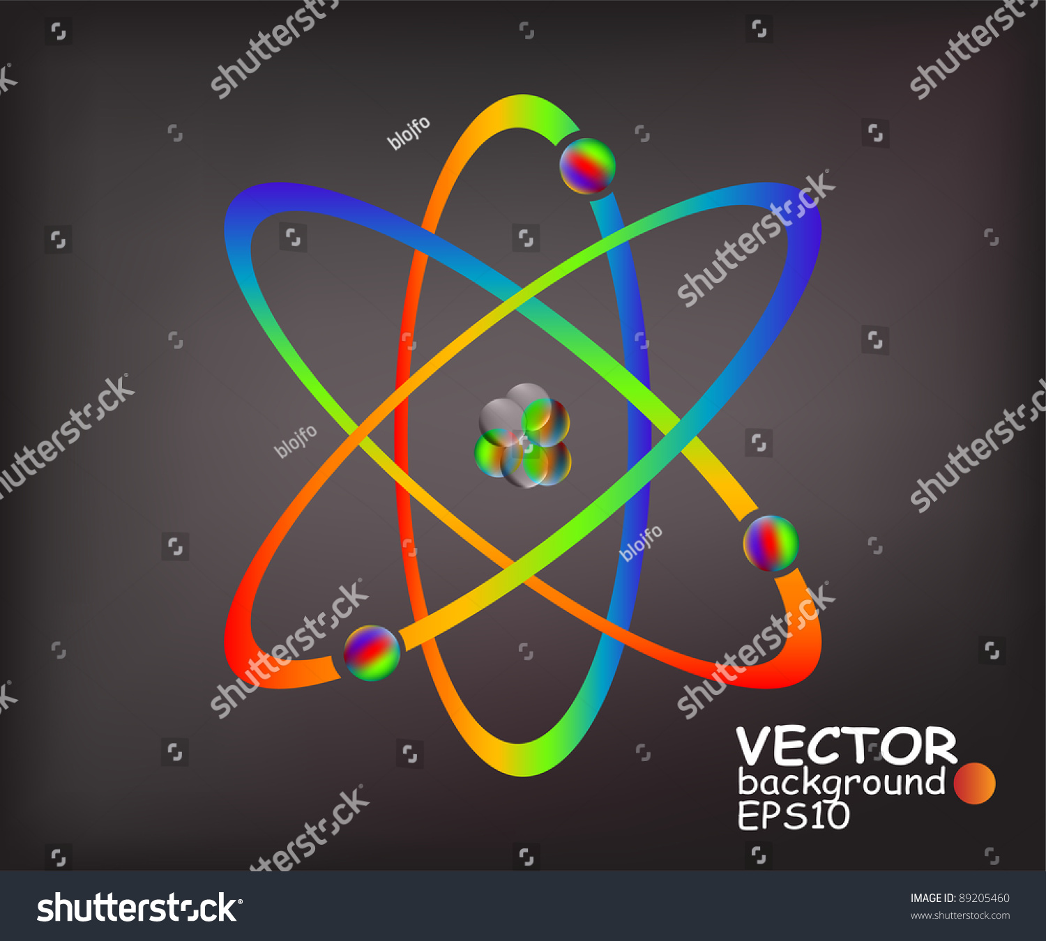 Simplified Model Of An Atom With Protons Neutrons And Electrons Stock Vector Illustration