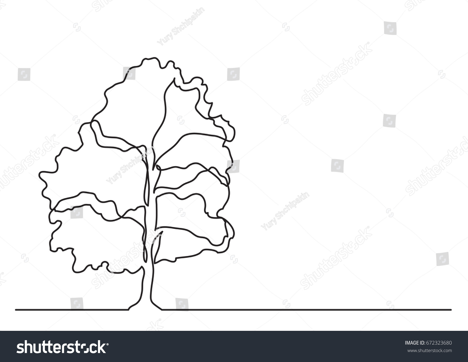 hight resolution of single line drawing of tree