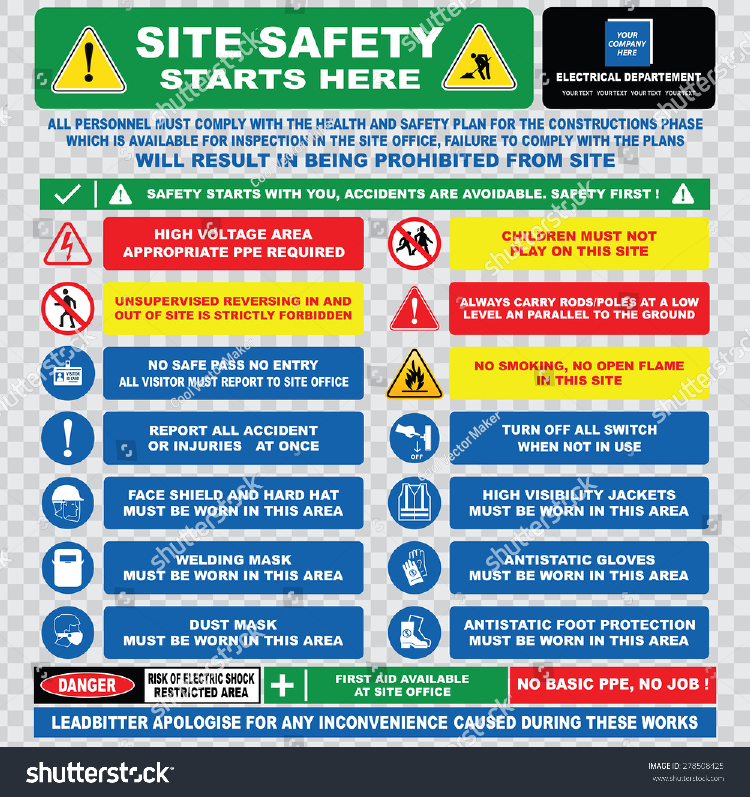 Site Safety Starts Here Site Safety Stock Vector