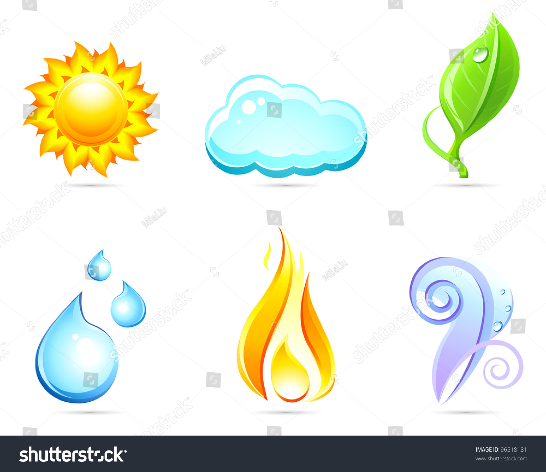 Six Nature Elements Sun Cloud Leaf Water Fire Air Set