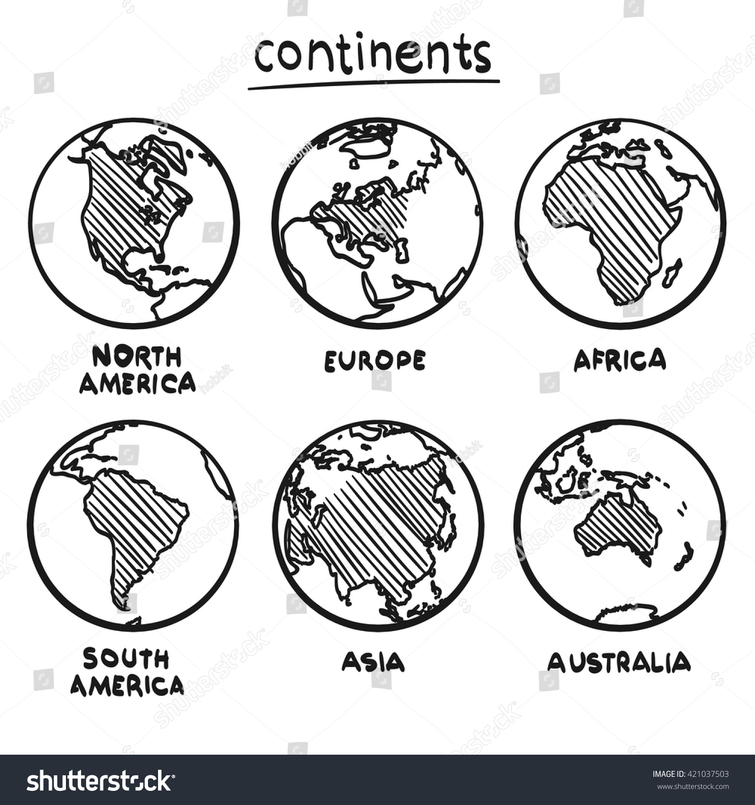 Sketch Drawing Continents Planet Continent Europe Stock