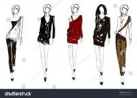 Sketch Fashion Girl Handdrawn Fashion Model Stock Vector ...