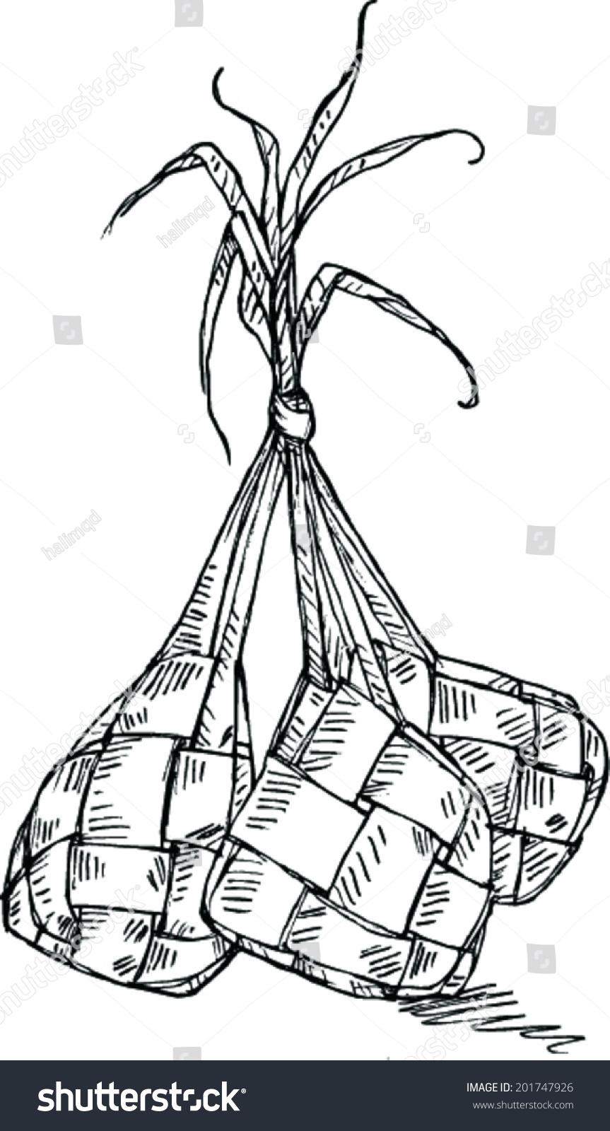 Gambar Ketupat Hitam Putih : gambar, ketupat, hitam, putih, Sketch, Ketupat, Stock, Vector, (Royalty, Free), 201747926