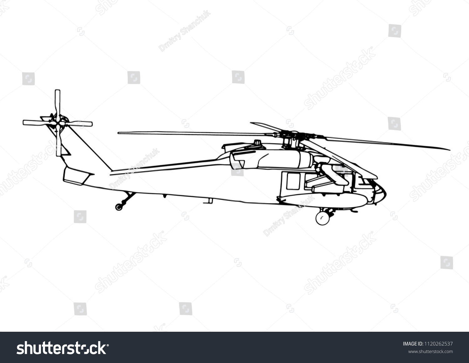 hight resolution of sketch of military helicopter vector