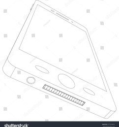 sketch of smart phone with usb socket on isolated white background bottom view [ 1443 x 1600 Pixel ]