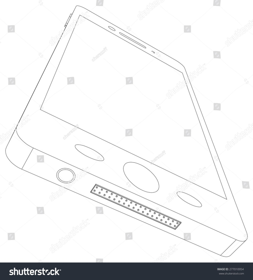 medium resolution of sketch of smart phone with usb socket on isolated white background bottom view