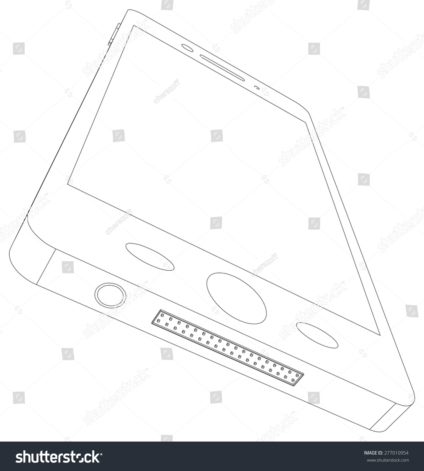 hight resolution of sketch of smart phone with usb socket on isolated white background bottom view