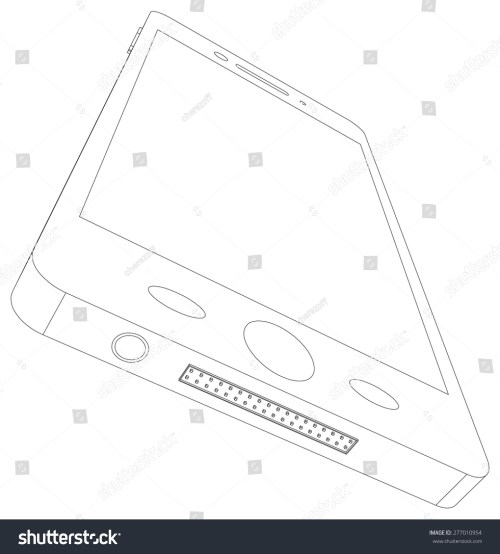 small resolution of sketch of smart phone with usb socket on isolated white background bottom view