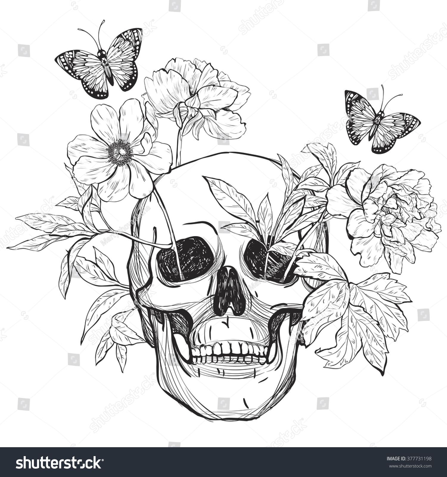 Skull Butterfly Flower Tattoo