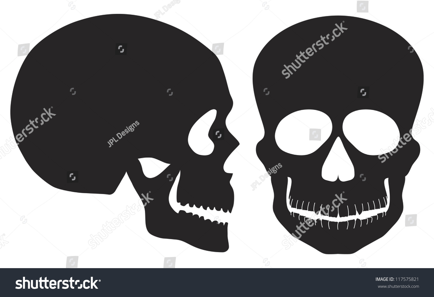 Skulls Front And Side View Black And White Illustration